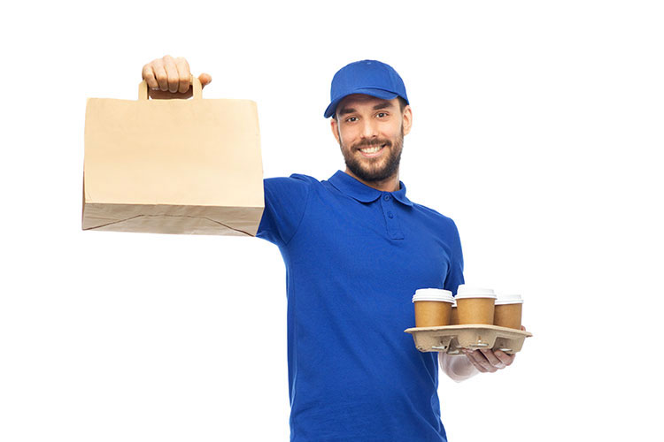 man delivering coffee