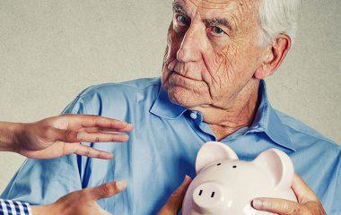 old man piggy bank