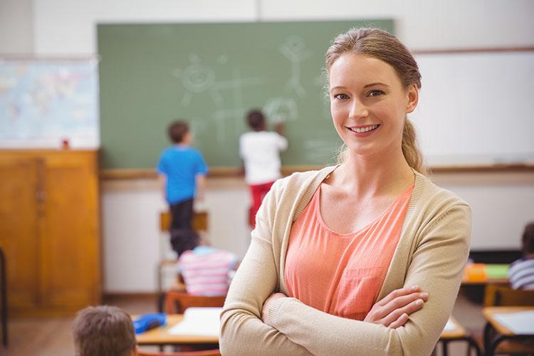 Pretty teacher smiling